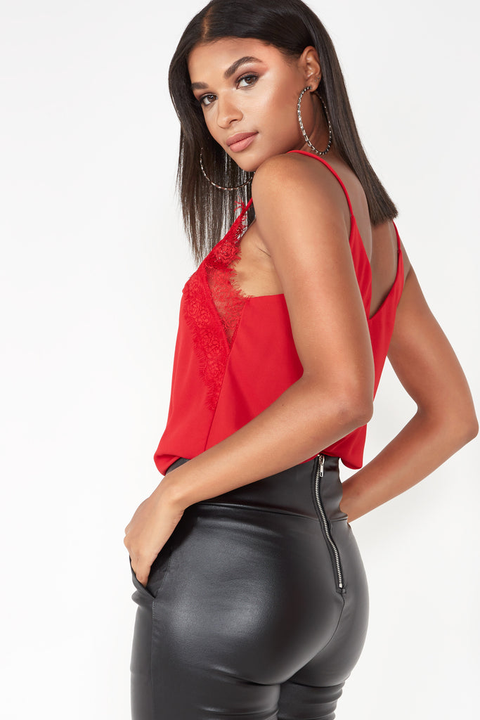 Daeva Red Lace Camisole Top