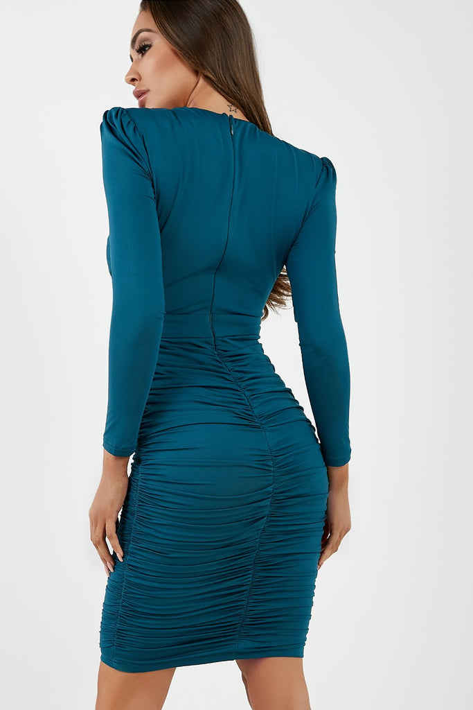 Daisy Teal Ruched Midi Dress (4294833438786)