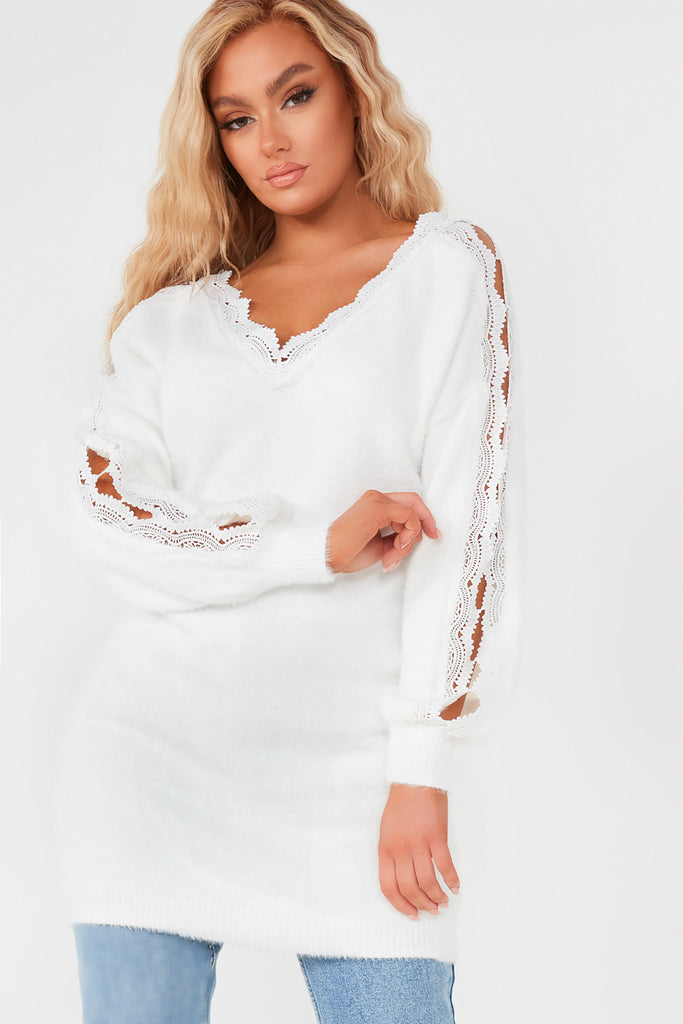 Daisy White Crochet Longline Fluffy Jumper