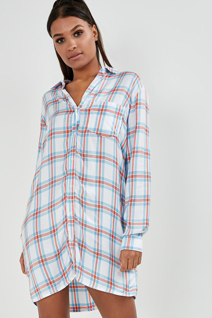 Dale Blue Check Oversized Shirt Dress