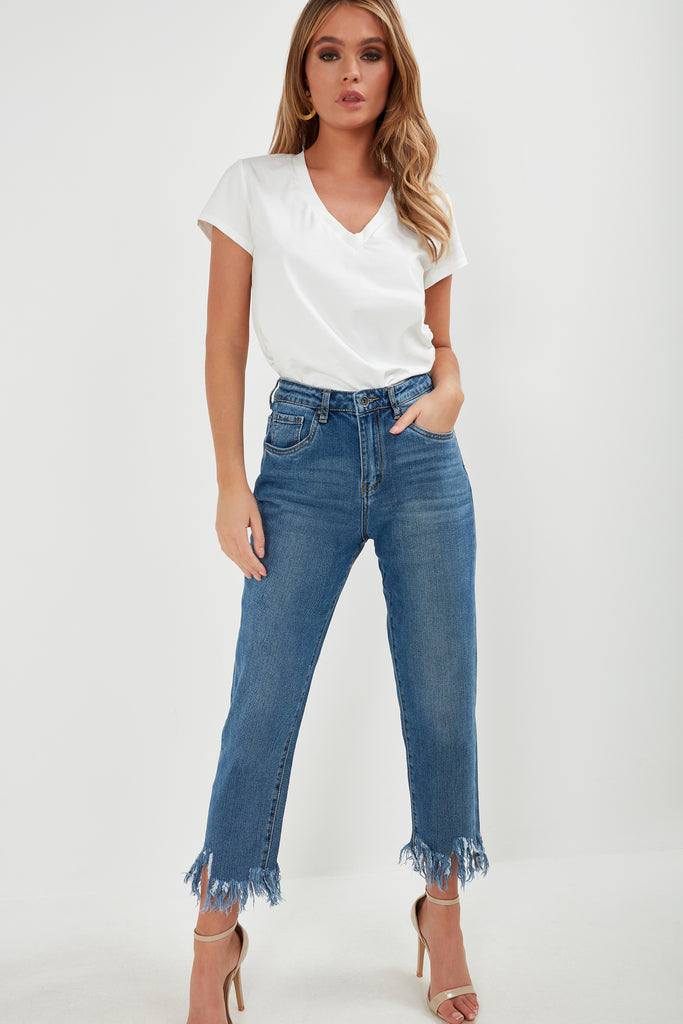 Dalis Blue Denim Frayed Hem Mom Jeans