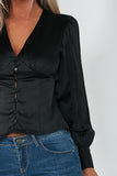 Dania Black Sateen Balloon Sleeve Shirt