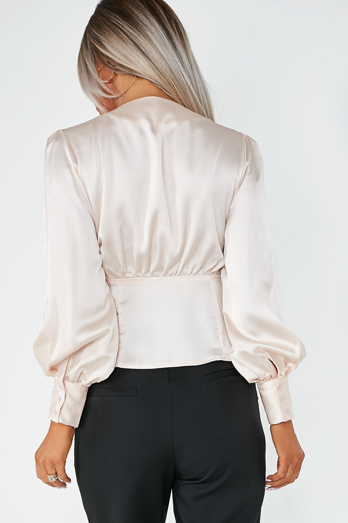 Dania Champagne Satin Balloon Sleeve Shirt