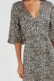 Danielle Leopard Print V Neck Midi Dress