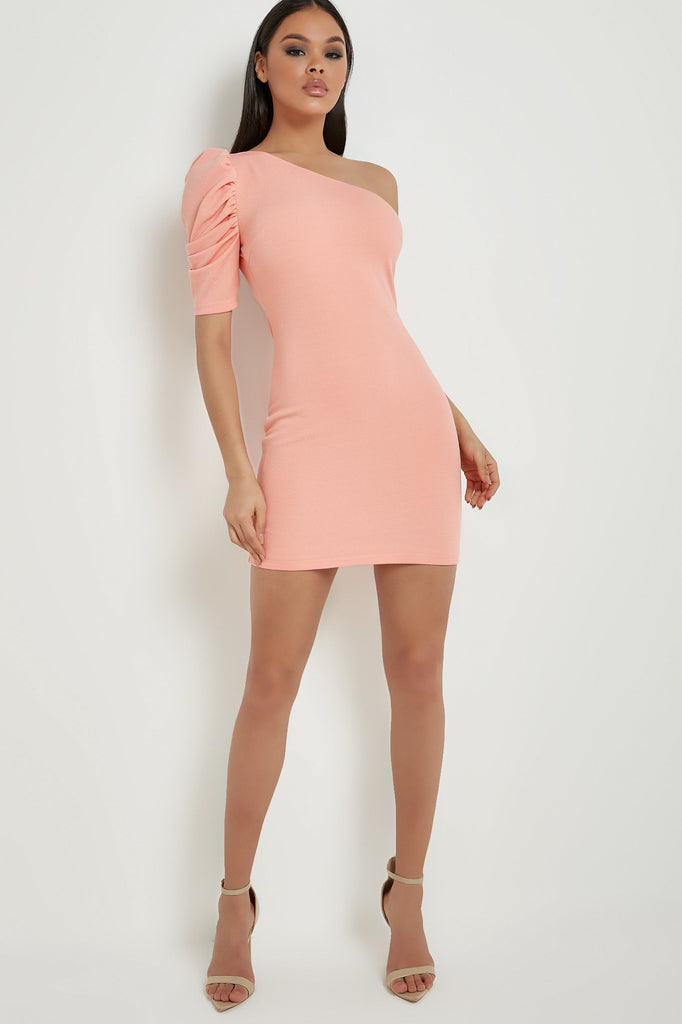 Danielle Peach One Shoulder Bodycon Dress