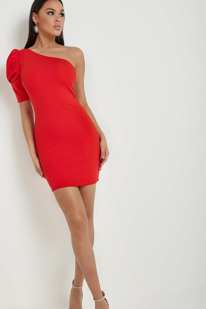 Danielle Red One Shoulder Bodycon Dress