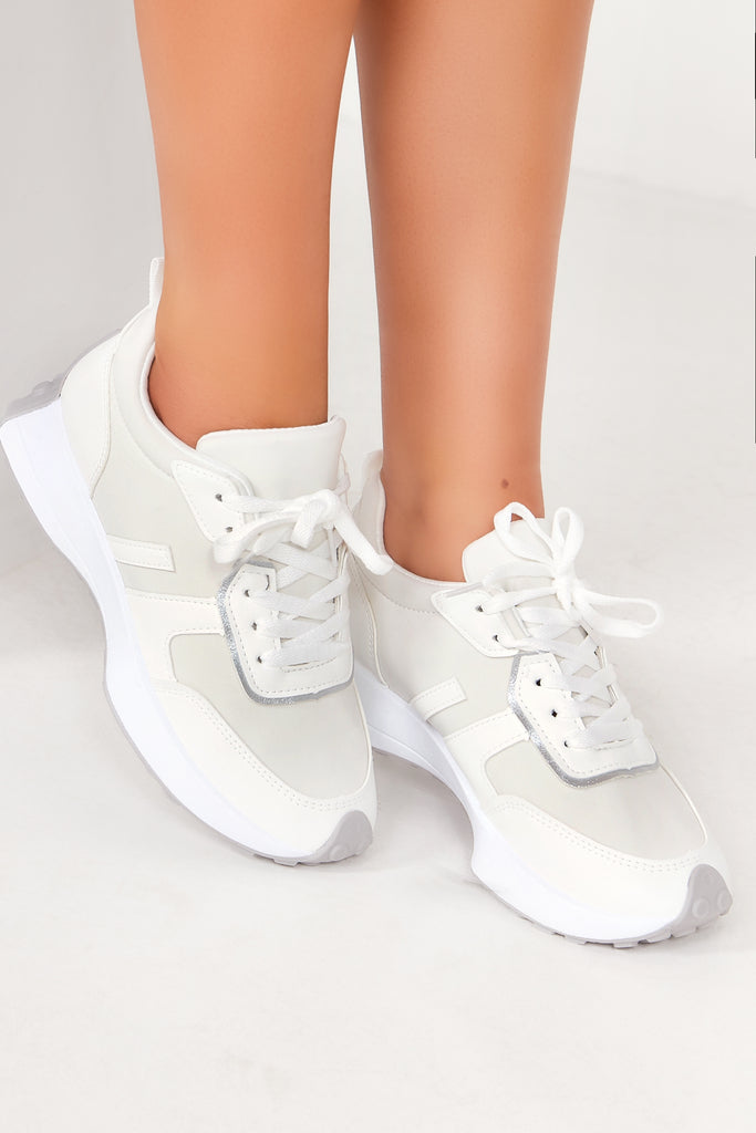 Danna White Lace Up Trainers