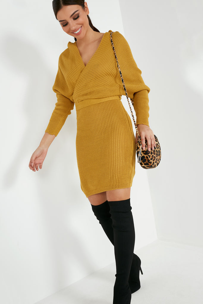 Danni Mustard Batwing Knit Dress