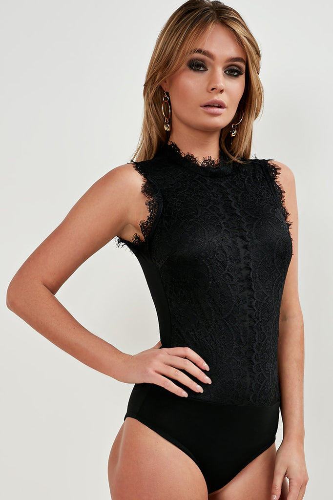 Daphne Black Lace High Neck Bodysuit