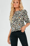 Daphne Green Animal Print Frill Sleeve Top