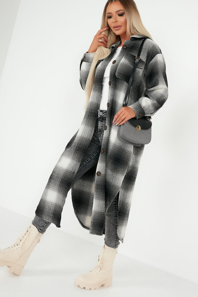 Darcie Charcoal Longline Check Shacket