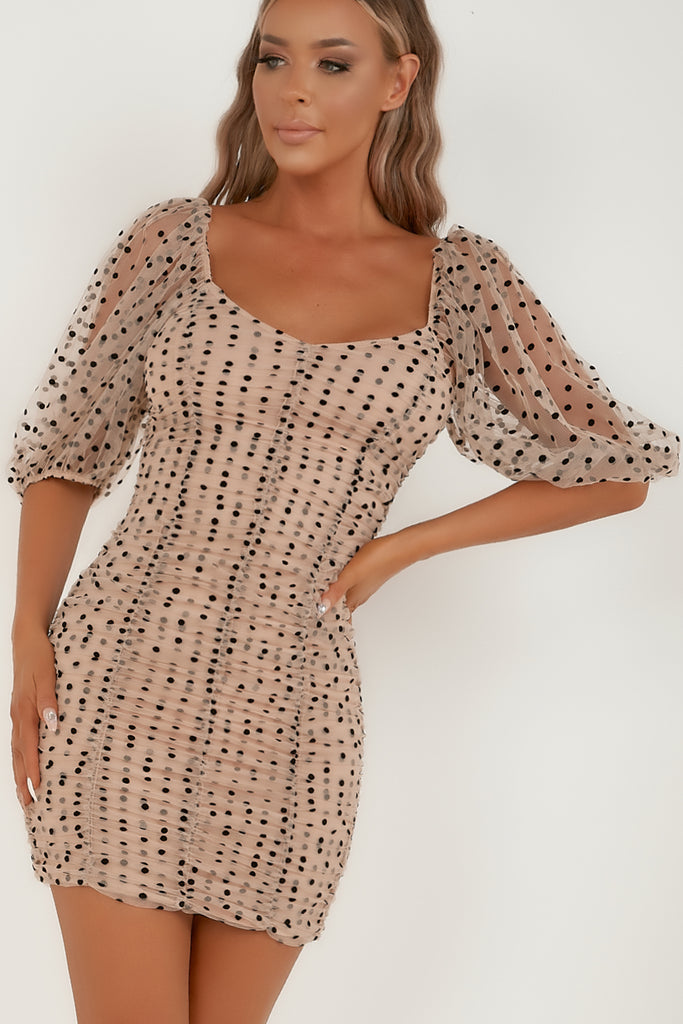 Darlene Nude Mesh Polka Dot Ruched Dress