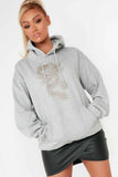 Dasha Grey Dragon Graphic Oversized Hoodie