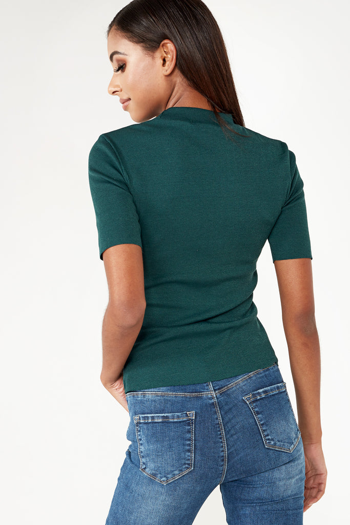 Dawn Teal Slim Fit Ribbed T-Shirt