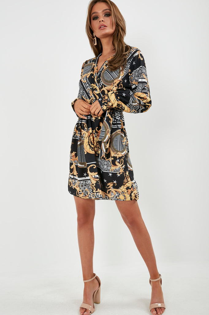 Deanna Black and Gold Scarf Print Dress