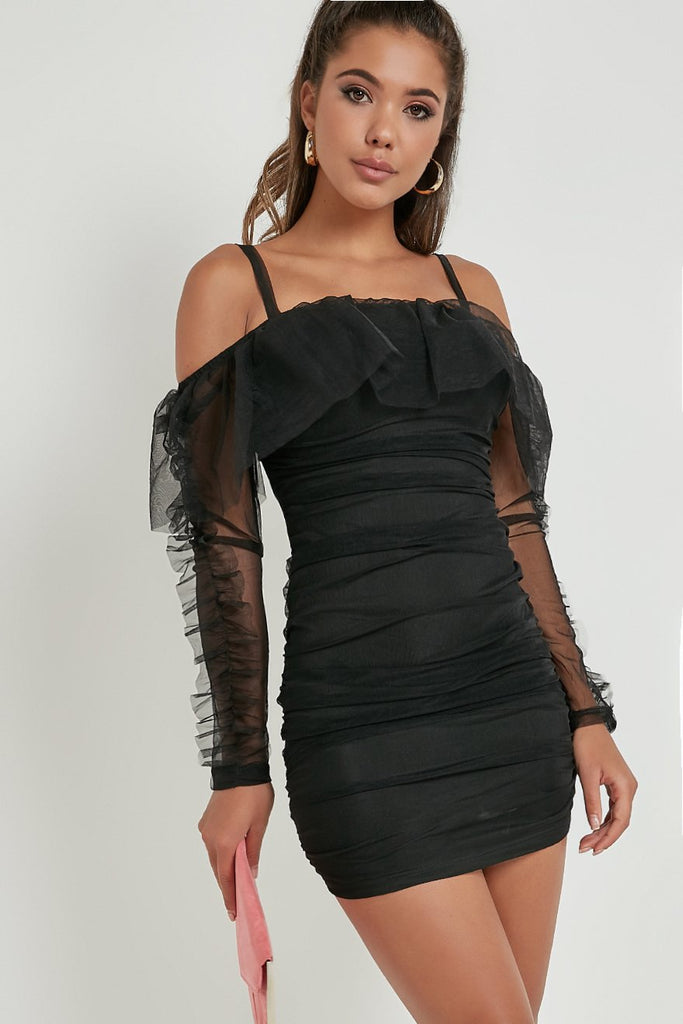 Deanna Black Mesh Cold Shoulder Bodycon Dress