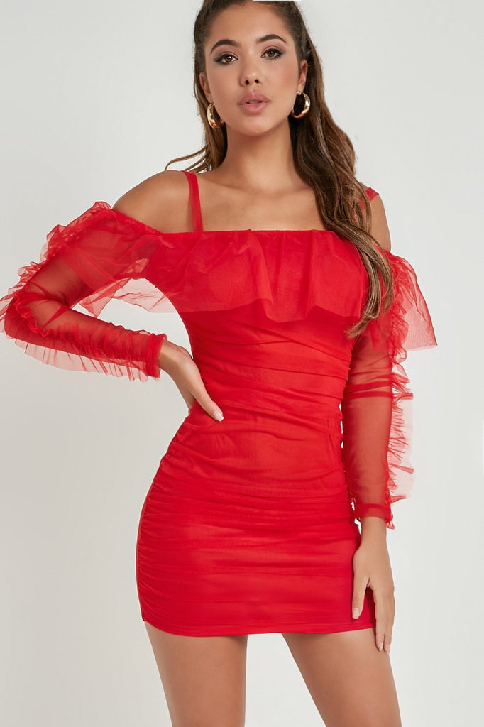 Deanna Red Mesh Cold Shoulder Bodycon Dress