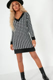 Dearbhla Black Houndstooth Jumper Dress