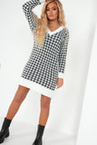 Dearbhla White Houndstooth Jumper Dress