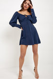Debs Navy Milkmaid Long Sleeve Dress