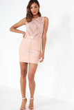 Debs Pink Sheer Lace Sleeveless Bodysuit