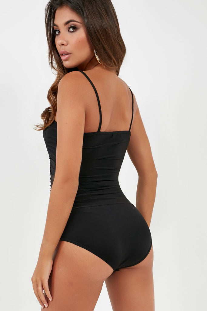 Dee Black Ruched Slinky Bodysuit (1996647104578)