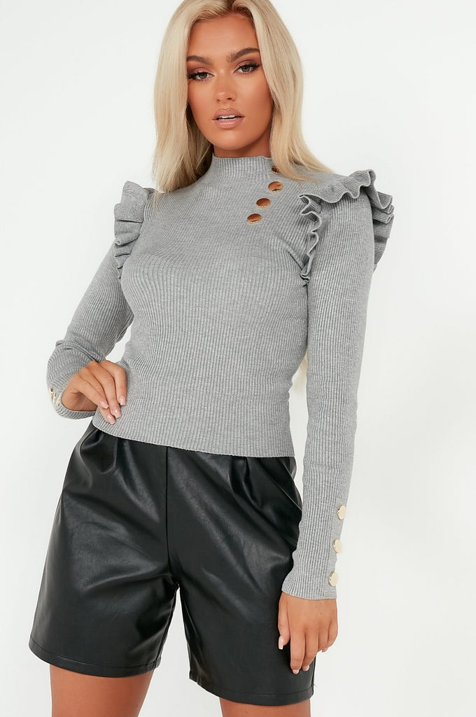 Deena Grey Button Detail Ribbed Jumper