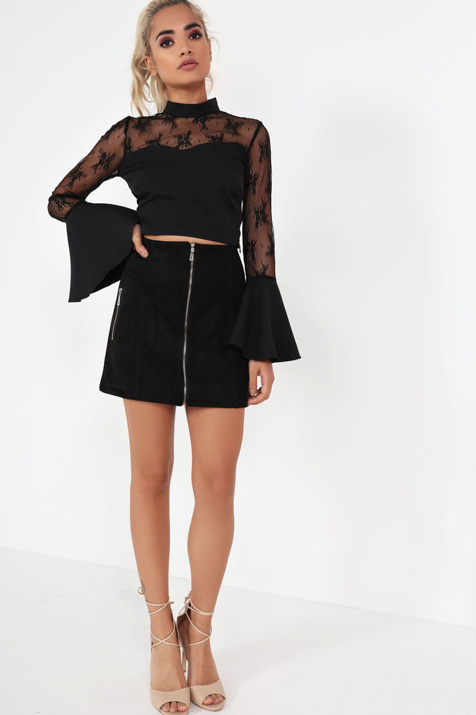 Deirdre Black Contrast Lace Crop Top
