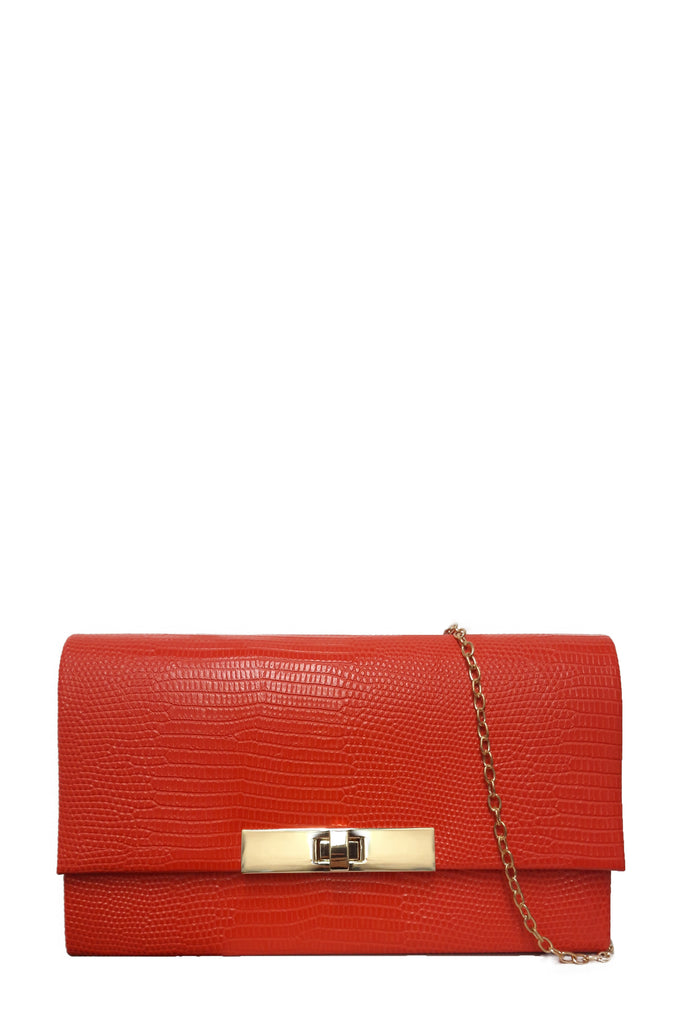 Deirdre Red Moc Croc Box Bag