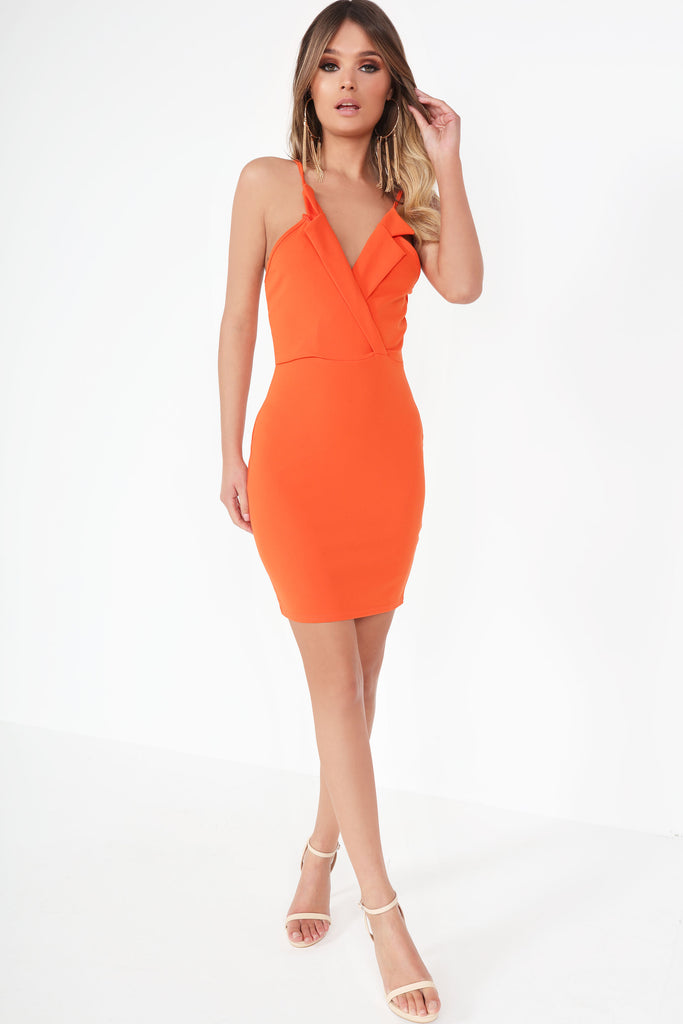 Delia Orange Wrap Front Mini Dress