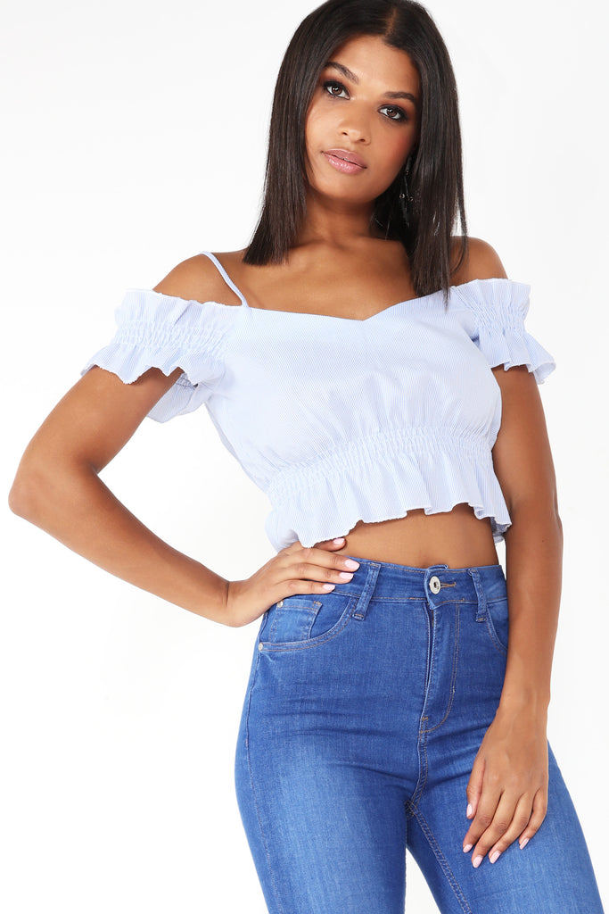 Delight Blue Striped Peplum Crop Top