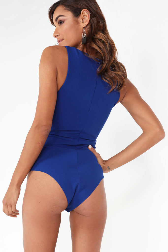 Delilah Blue Notched V Bodysuit
