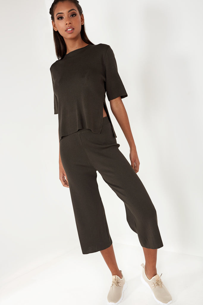 Delta Khaki Knit Trouser Co Ord