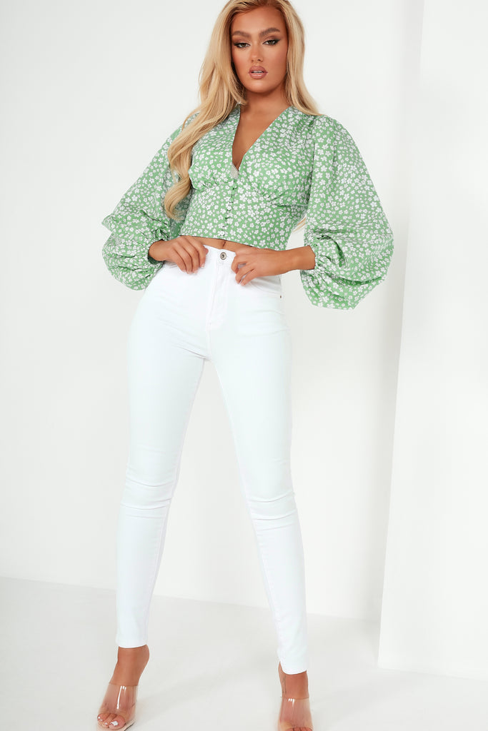 Demi Green Floral V Neck Crop Top
