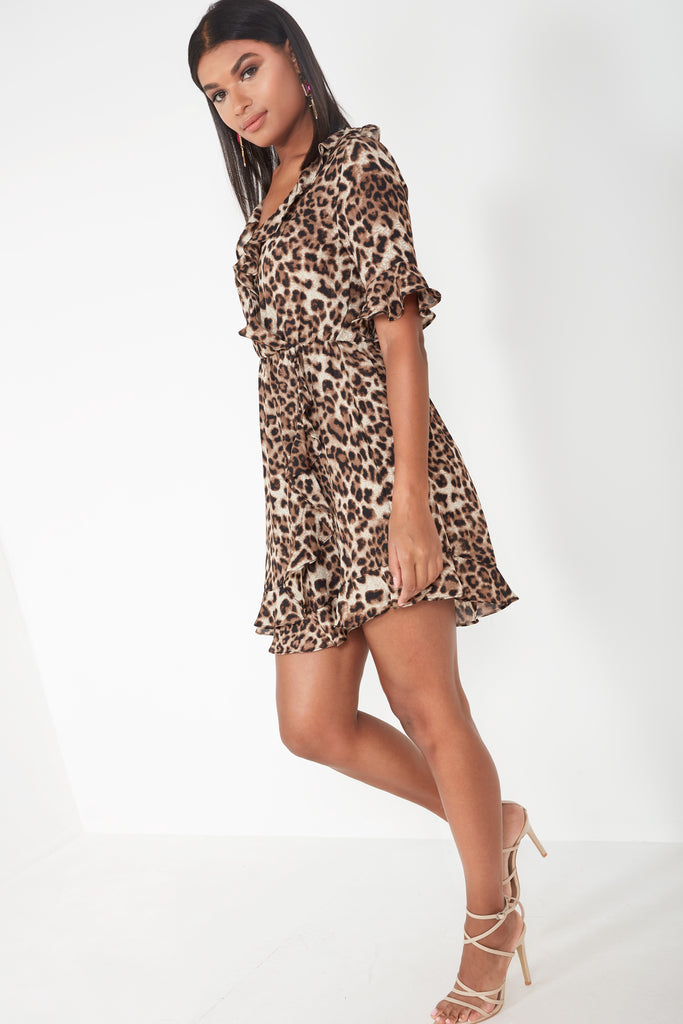 Demi Leopard Print Frill Wrap Dress