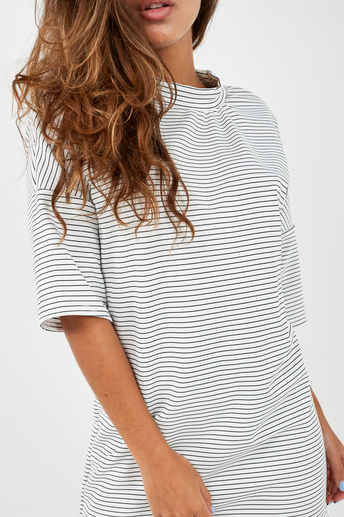 Denice Monochrome Striped T-Shirt Dress