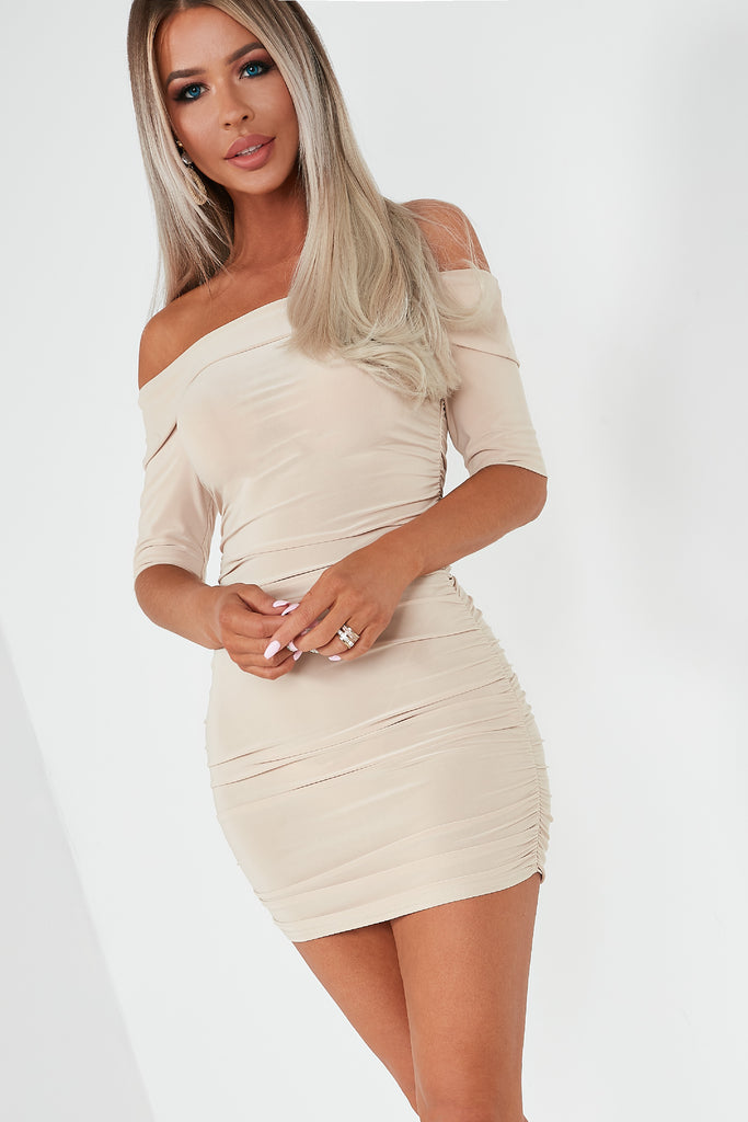 Derina Nude Slinky Bardot Mini Dress