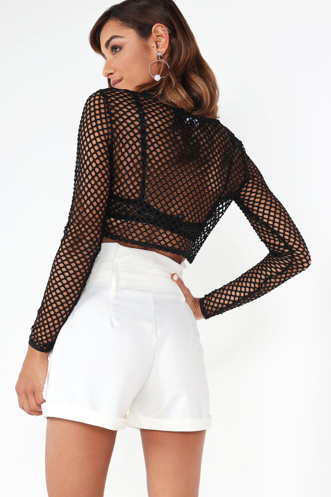 Derv Black Net Crop Top