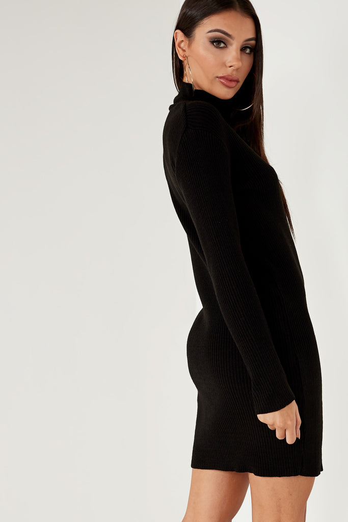 Dervla Black Ribbed Knit Jumper Dress