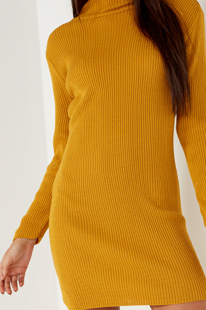 Dervla Mustard Ribbed Knit Jumper Dress