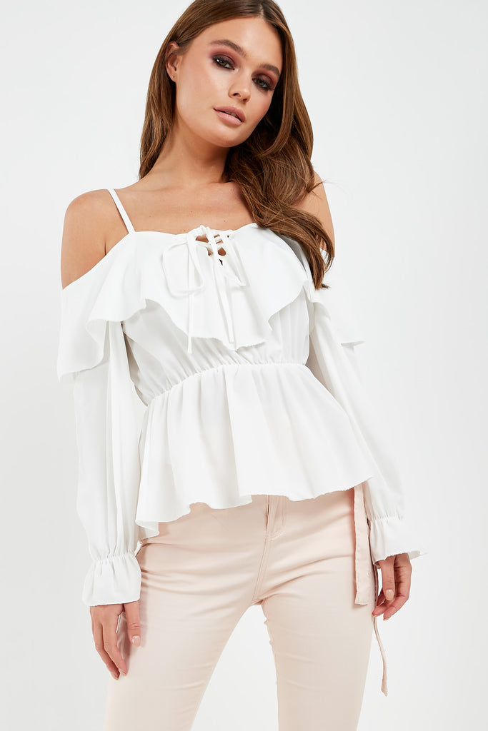 Dervla White Tie Front Cold Shoulder Top
