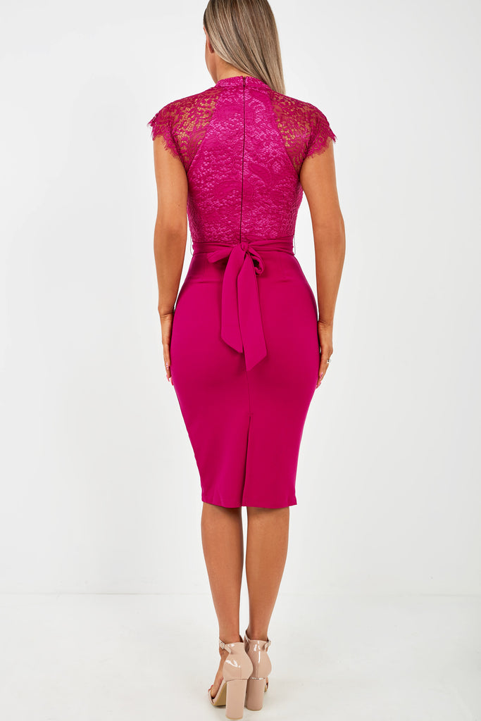 Desire Magenta Lace Top Pencil Dress (2031409725506)
