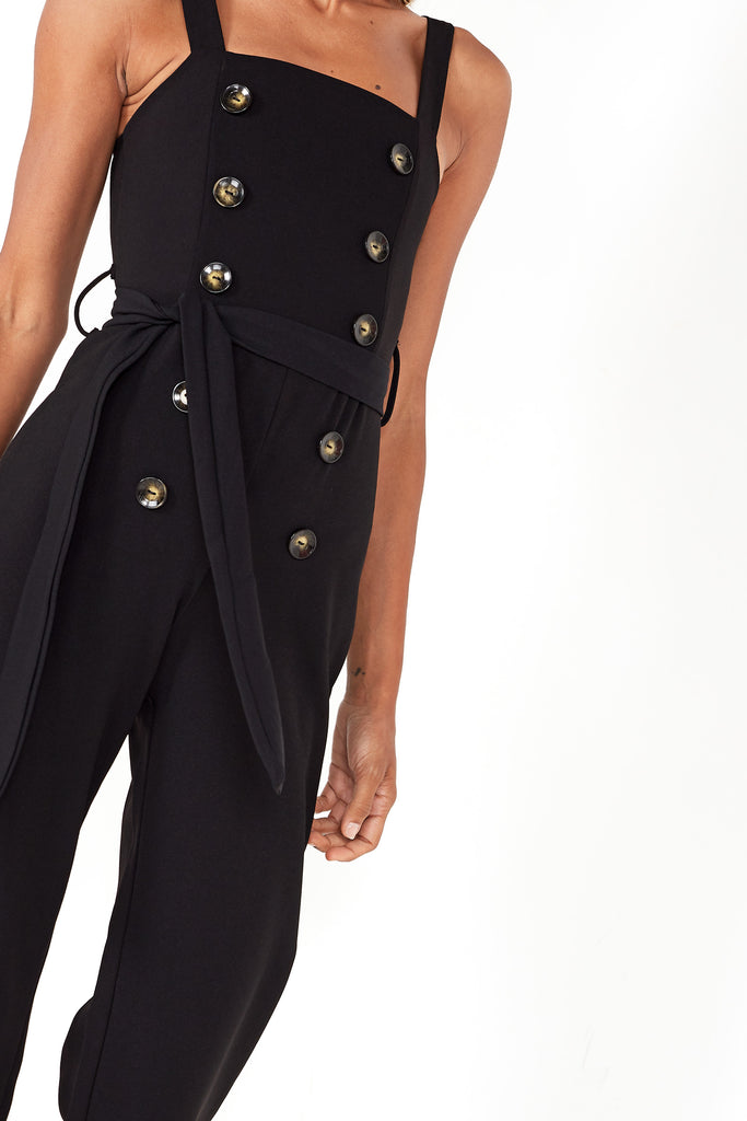 Desiree Black Button Front Jumpsuit
