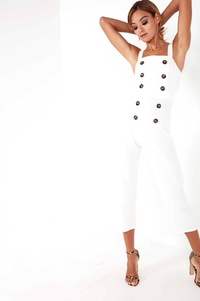 Desiree White Button Front Jumpsuit