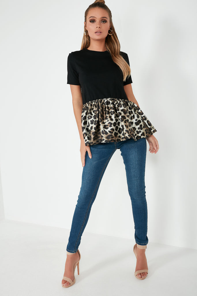 Destiny Black & Leopard Peplum Top