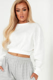Destiny White Waffle Long Sleeve Crop Top