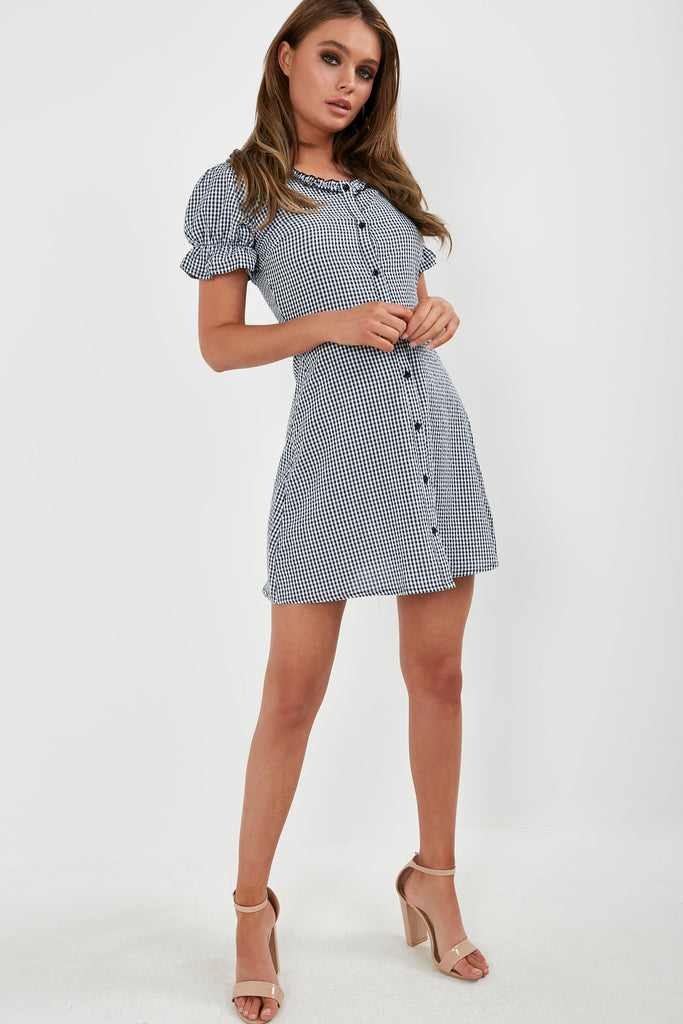 Devon Navy Gingham A Line Shirt Dress