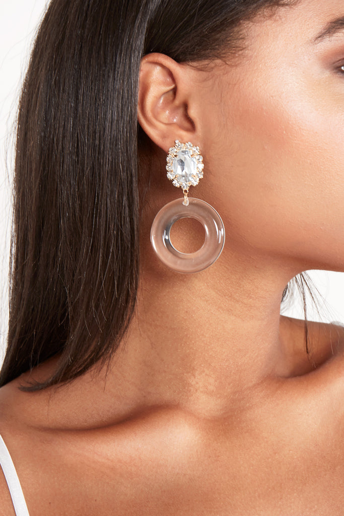 Diamante Clear Perspex Earrings