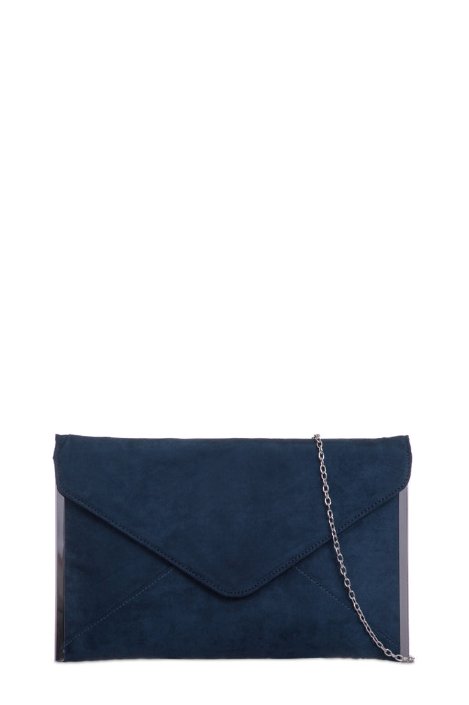 Dido Navy Suede Envelope Clutch Bag