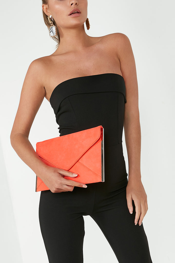 Dido Neon Coral Suede Envelope Clutch Bag (88477892624)